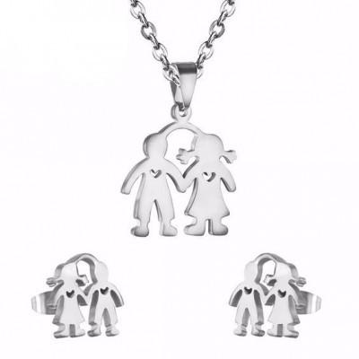 Conjunto pingente / pendente + brincos de aço inoxidável (menino e menina)