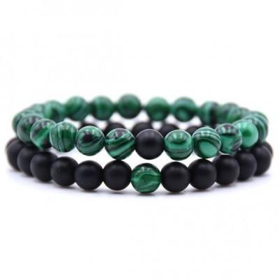 Pulseira de pedra natural (verde/preto) - 6mm