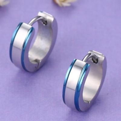 Brincos / argolas de aço inoxidável cor prata / azul