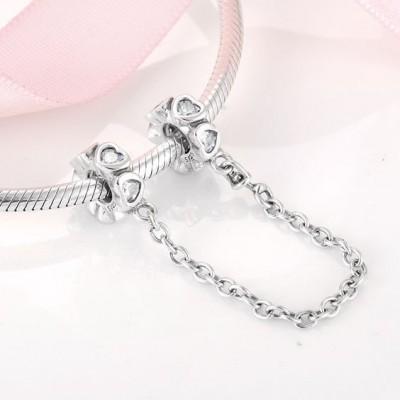 Corrente de prata compatível com pandora (coração - pedra zircão)
