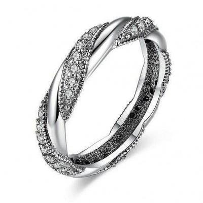 Anel / aliança de prata 925 com pedras zircão compatível com pandora