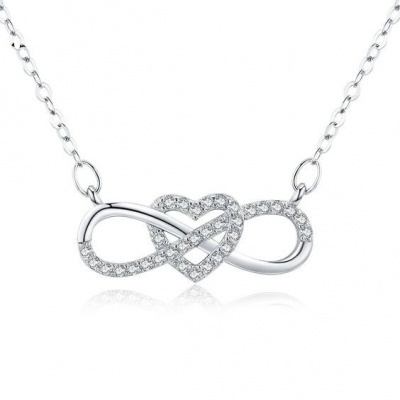 Fio com pendente / pingente de prata 925 com pedras Zircónia cúbica (coração e infinito)