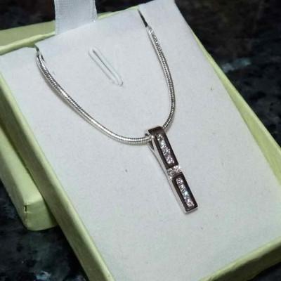 Pendente / Pingente de prata 925 com pedras zircão cúbica e fio de prata 925