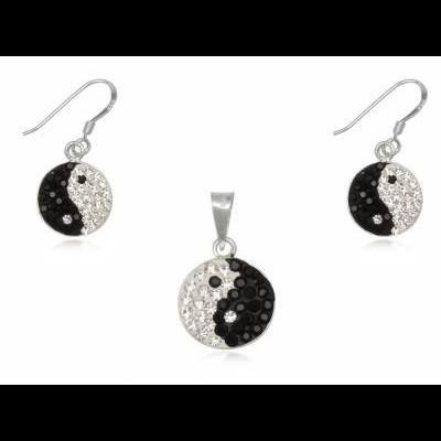 Conjunto brincos e pendente prata 925 c/ cristais brancos e pretos (yang yin)