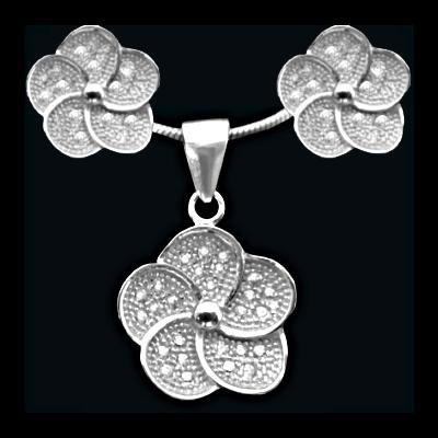 Conj. brincos e pendente prata 925 com pedras zircão
