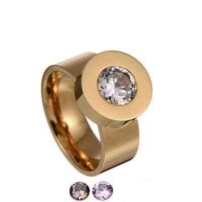 Anel de aço inoxidável cor ouro compatível com BVLGARI - com logotipo