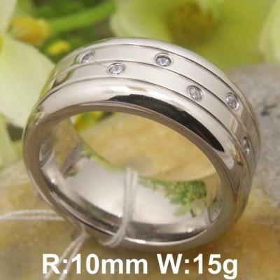 Aliança / anel de aço cor prata com pedras zircão