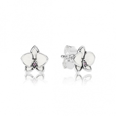 Brincos de prata 925 compatível com pandora (Orquídea)