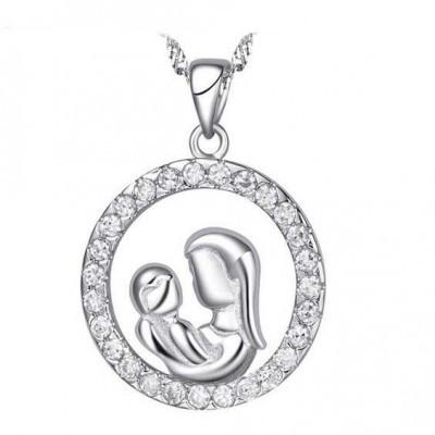Pendente / Pingente de prata 925 com pedras Zircônia cúbica (mãe e filho)