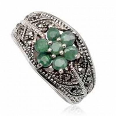 Anel de prata 925 com esmeraldas e marcasita