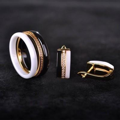 Conjunto brincos e anel cerâmico com cristais zircão