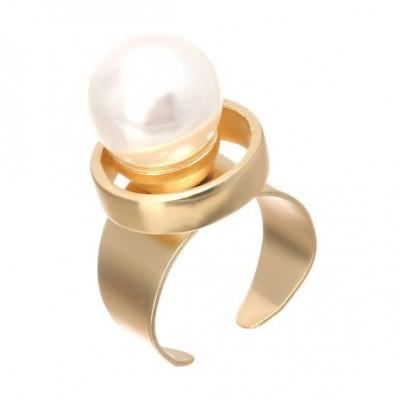 Anel cor ouro com pérola sintética (ajustável)
