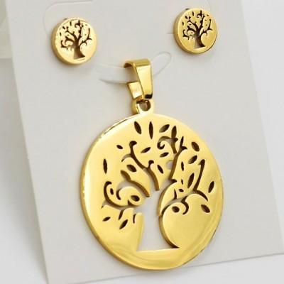 Conjunto brincos e pendente de aço inoxidável banhado a ouro (árvore)
