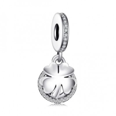Conta pingente de prata 925 compatível com pandora (trevo e ferradura)