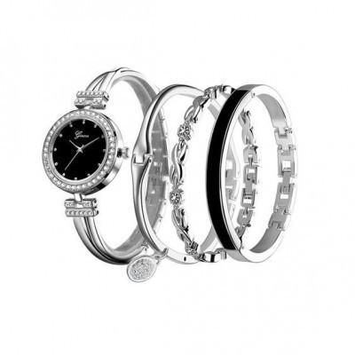 Conjunto: Relógio + 3 pulseiras em aço inoxidável