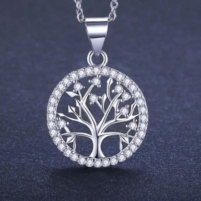 Fio com pendente / pingente de prata 925 com pedra Zircónia cúbica (Família - Ávore da vida)