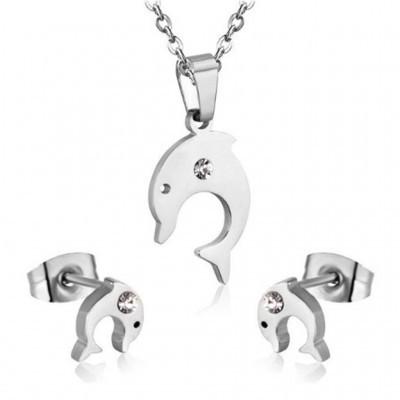 Conjunto pingente / pendente + brincos de aço inoxidável (golfinhos)