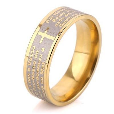 Aliança / Anel de aço cor ouro