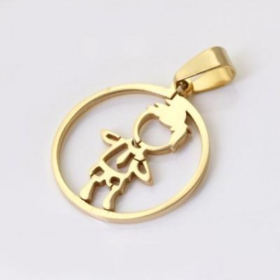 Pingente / pendente de aço inoxidável cor ouro (menino)