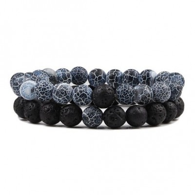 Pulseira de pedra natural (preto/azuis) - 8mm