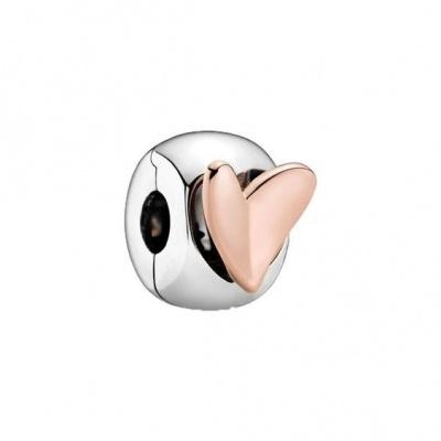 Conta de prata 925 (coração rosé) - clip