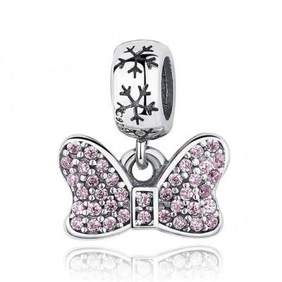 Conta pingente de prata 925 compatível com pandora (laço rosa)