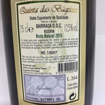 Espumante Bruto Natural 2015 75CL