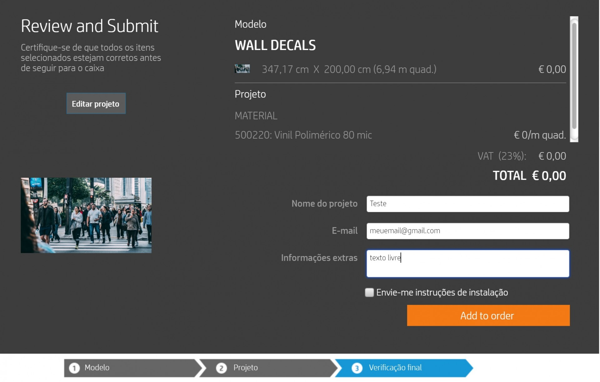WallArt (criar projecto) - Vinil ou Papel de Parede