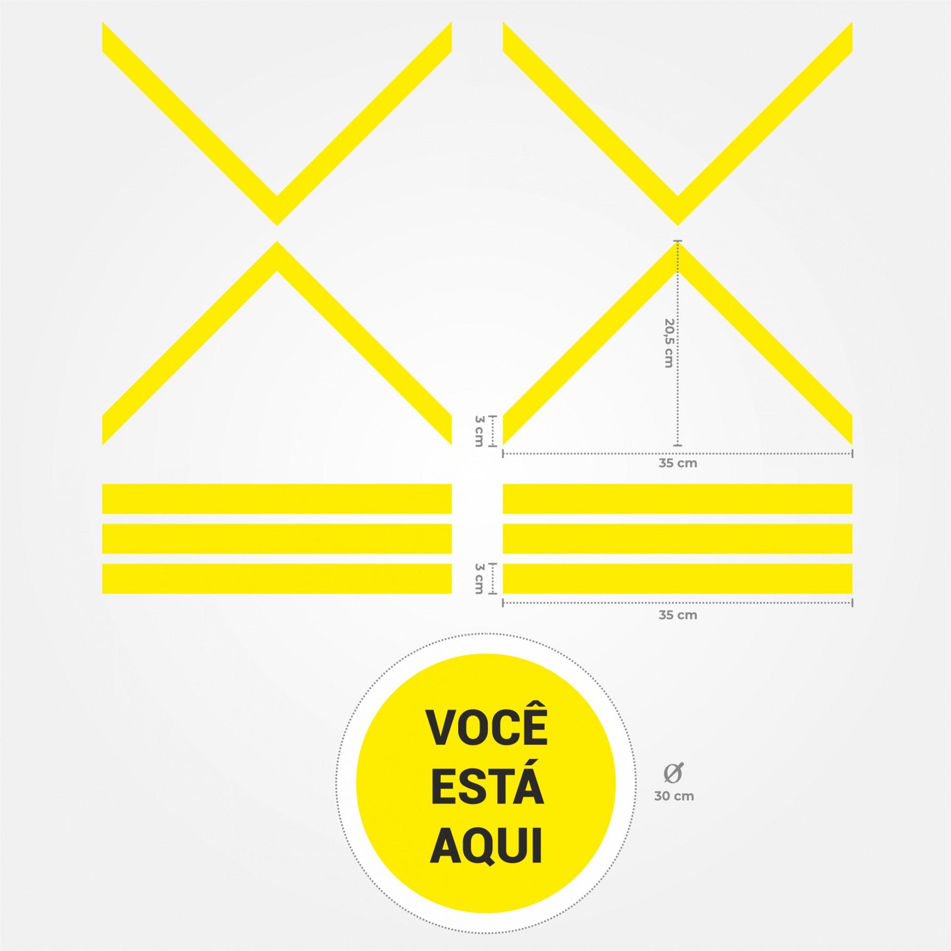 Sinalética Autocolante (Você Está Aqui & Setas) COVID19