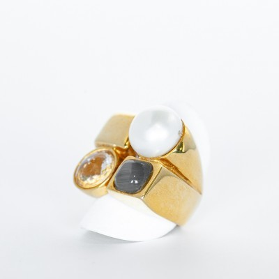 Anel Prata Dourada
