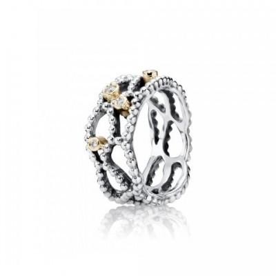 Anel Pandora Prata, Ouro e Diamantes