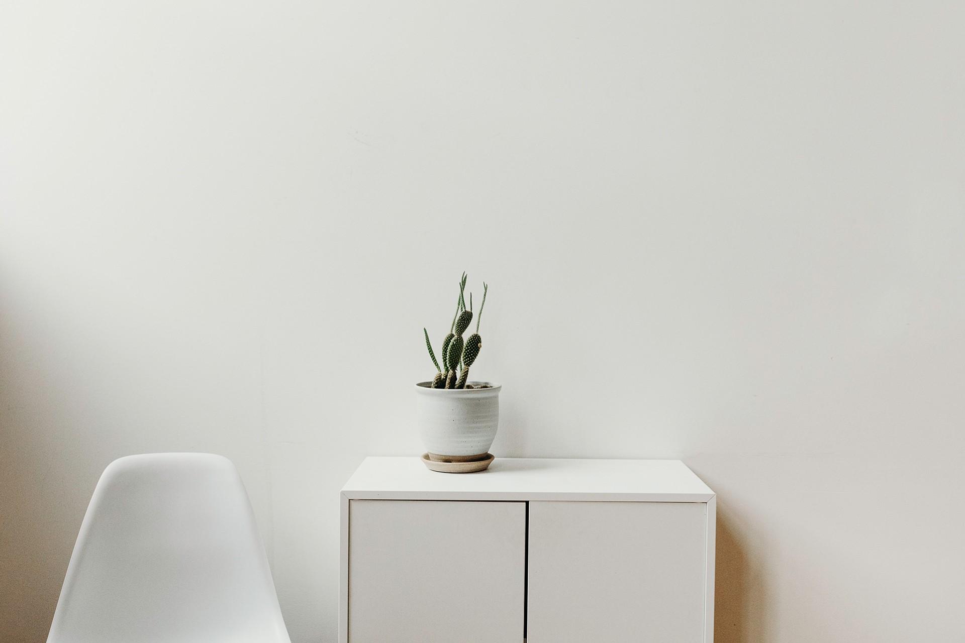Round Cylinder White Pot