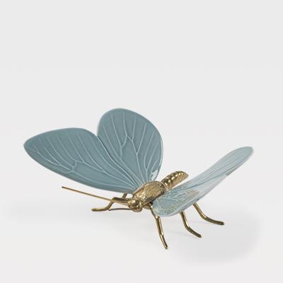 Borboleta Azul Sereno com corpo em latão natural - Esperança na vida das Borboletas