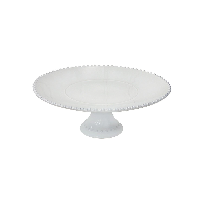 Prato com Pé Grande Pearl - Branco