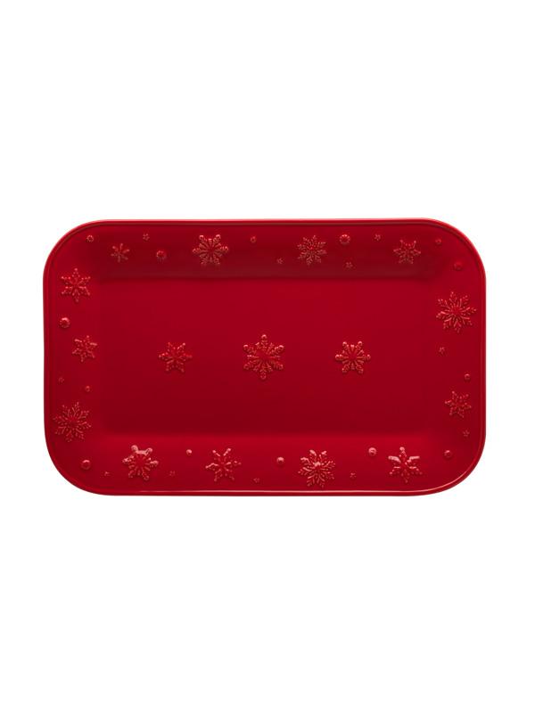 Travessa 34,5 Vermelho - Snowflakes