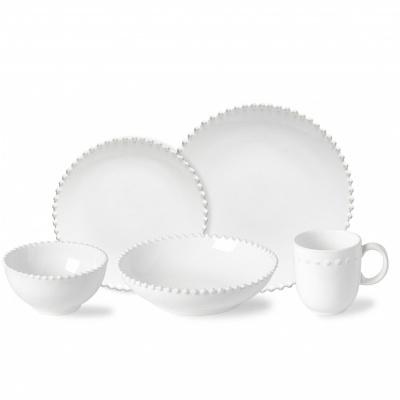Set 5 peças de mesa, PEARL, branco