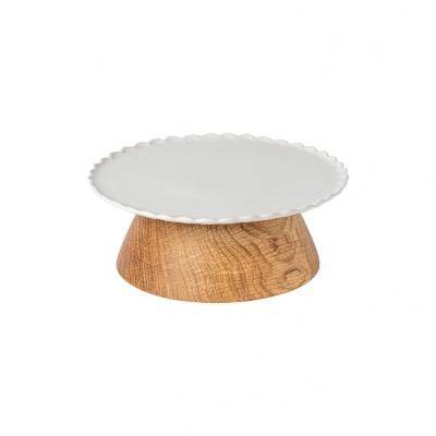 Prato 21 com Pé de madeira, FORMA BaKEWARE - branco