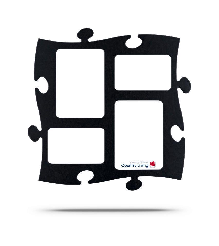 Moldura Puzzle+ 4fotos  (2x 10x15cm; 2x 13x18cm) preta Country Living