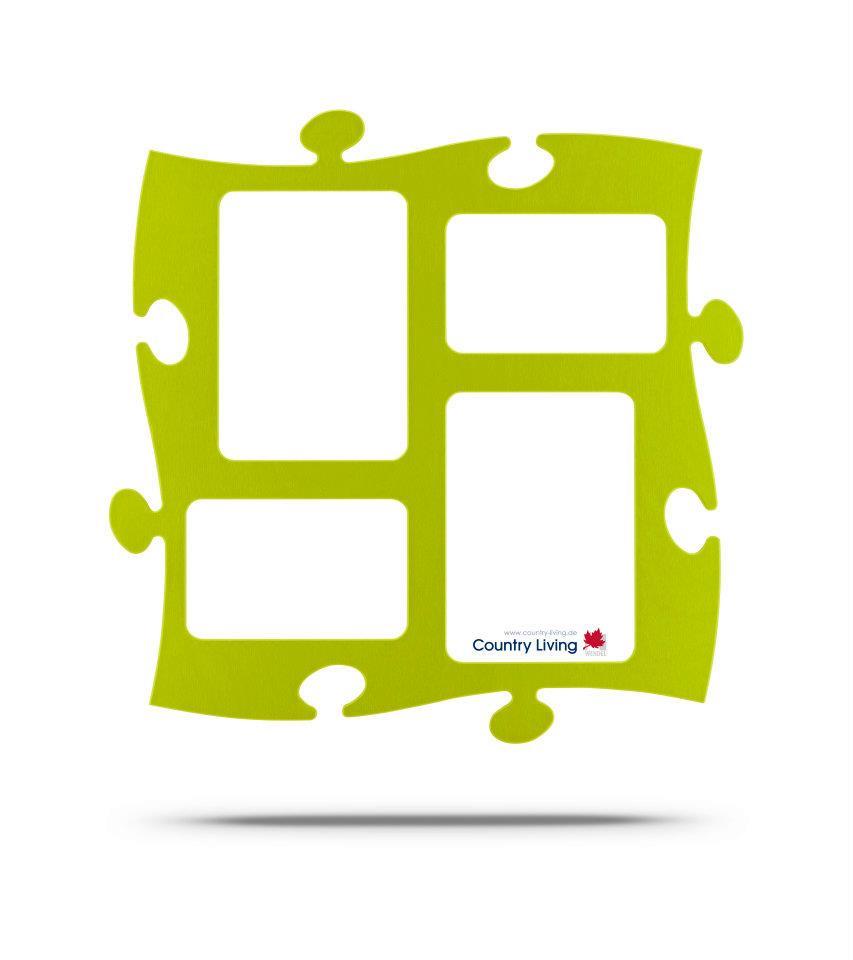 Moldura Puzzle+ 4 fotos (2x 10x15cm; 2x 13x18cm) verde alface Country Living