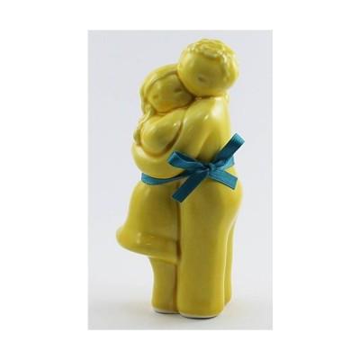 "Figura ""Abraço Casal2"" amarelo Rosa Malva"