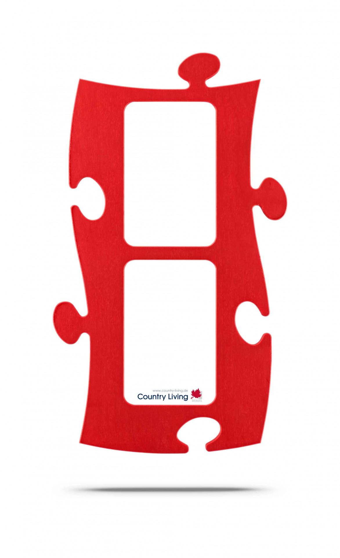 Country Living Moldura Puzzle+ (2x) 10x15cm vermelha