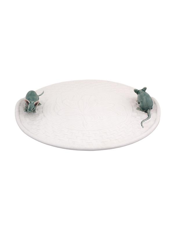 Queijeira Lírios Branca c/ Rato Natural Bordallo Pinheiro