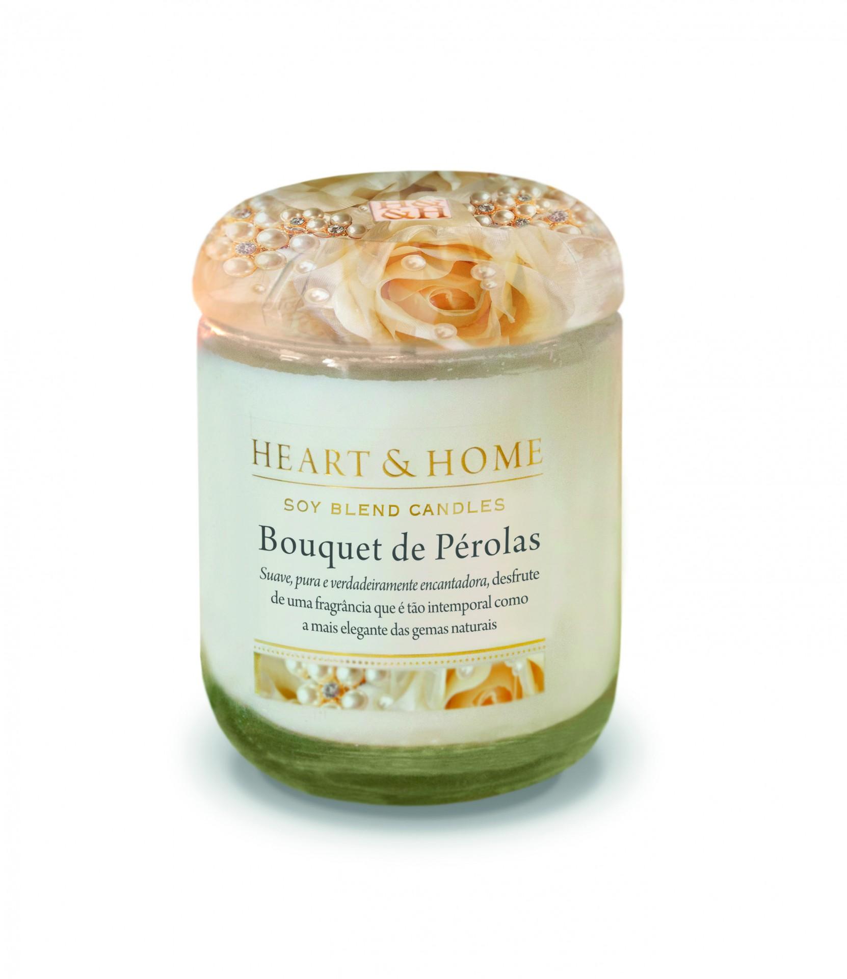 Vela Frasco Pequeno Bouquet de Pérolas Heart & Home
