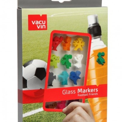 Set 12 Marcadores de copos silicone Football Friends  Vacu Vin