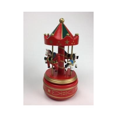 Carrossel madeira com cavalos vermelho MusicBox