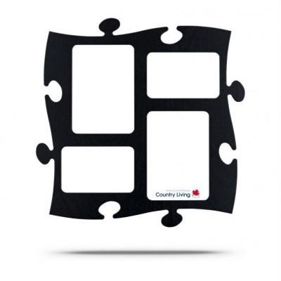 Country Living Moldura Puzzle+ 4fotos  (2x 10x15cm; 2x 13x18cm) preta
