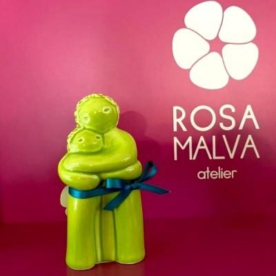 "Figura ""Pai com Menino"" Rosa Malva"