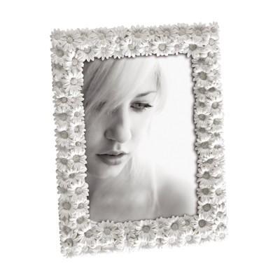 Porta fotos resina margaridas branca 10x15cm