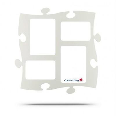 Country Living Moldura Puzzle+ 4fotos (2x 10x15cm; 2x 13x18cm)  Branca