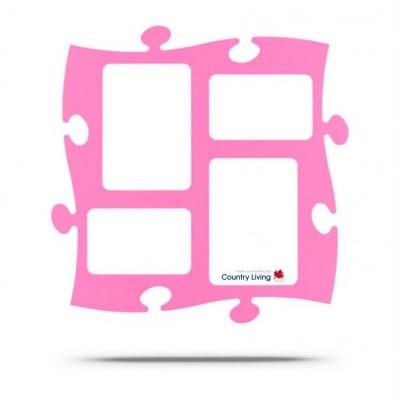 Moldura Puzzle+ 4fotos (2x 10x15cm; 2x 13x18cm) Rosa Country Living